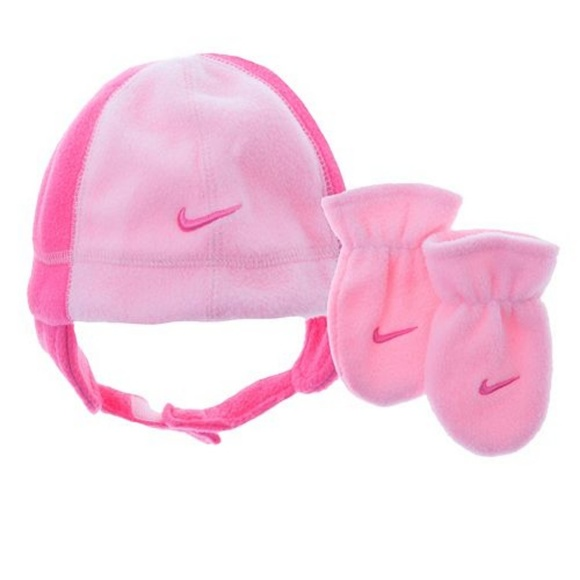 4ee435923e58d Nike Pink Fleece Beanie Mittens Set Baby Girl NEW